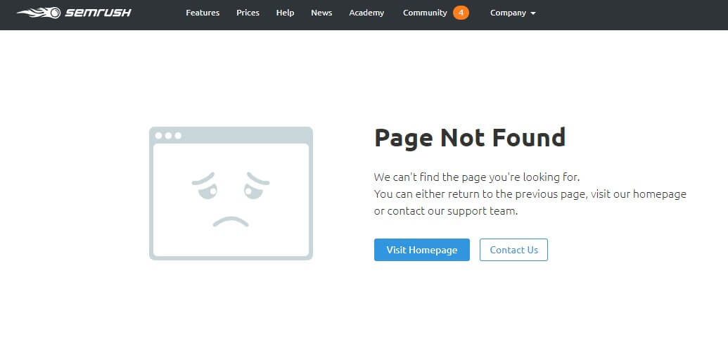 A screenshot from SEMrush.com 404 page