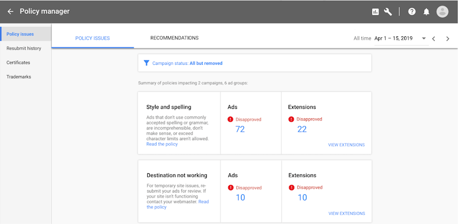 Google Ads launches new tool called the policy manager -1