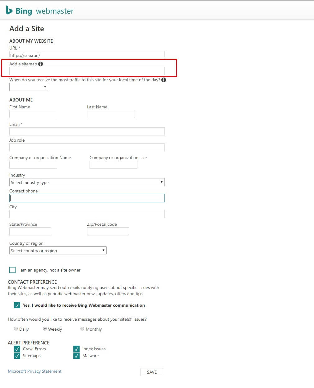 Add a sitemap in the Bing Webmaster Tool